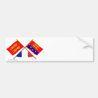 Crossed flags of Basse-Normandie and Orne Bumper Sticker