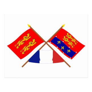 Crossed flags of Basse-Normandie and Orne Postcard