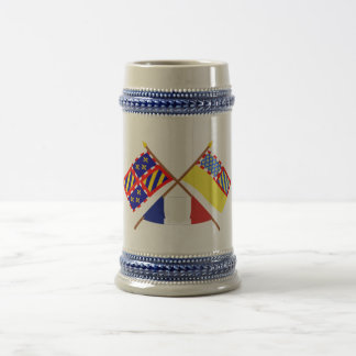 Crossed flags of Bourgogne and Côte-d'Or 18 Oz Beer Stein