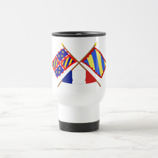 Crossed flags of Bourgogne and Nièvre 15 Oz Stainless Steel Travel Mug