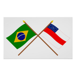 Crossed Flags of Brazil and Amazonas Poster