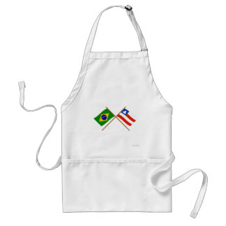 Crossed Flags of Brazil and Bahia Adult Apron