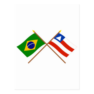Crossed Flags of Brazil and Bahia Postcard
