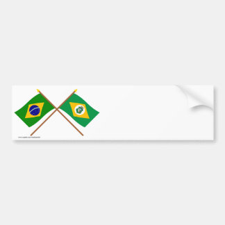 Crossed Flags of Brazil and Ceará Bumper Sticker