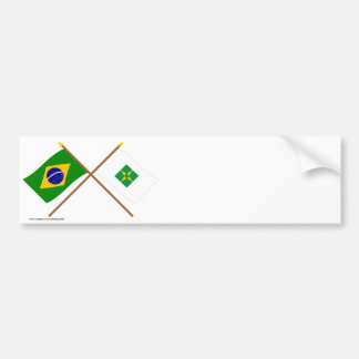 Crossed Flags of Brazil and Distrito Federal Bumper Stickers