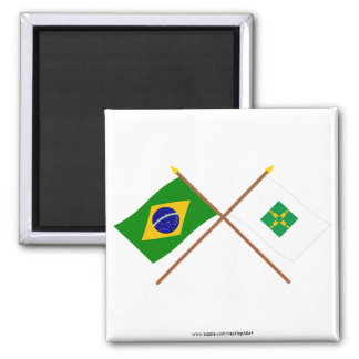 Crossed Flags of Brazil and Distrito Federal Refrigerator Magnets