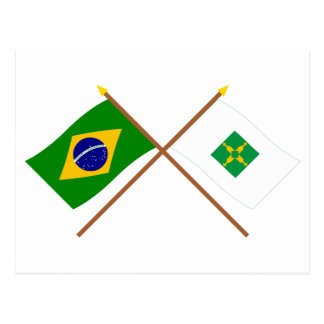 Crossed Flags of Brazil and Distrito Federal Postcard