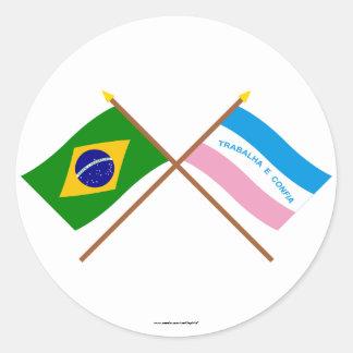 Crossed Flags of Brazil and Espírito Santo Classic Round Sticker