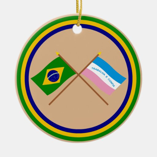 Crossed Flags of Brazil and Espírito Santo Ornament