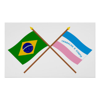 Crossed Flags of Brazil and Espírito Santo Poster