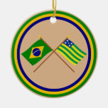 Crossed Flags of Brazil and Goiás Christmas Tree Ornament