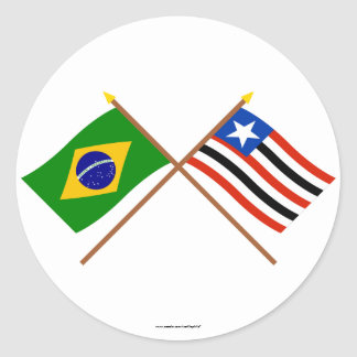 Crossed Flags of Brazil and Maranhão Classic Round Sticker