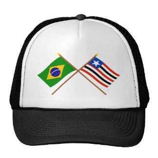 Crossed Flags of Brazil and Maranhão Hats
