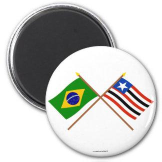 Crossed Flags of Brazil and Maranhão Magnet