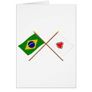 Crossed Flags of Brazil and Minas Gerais Card