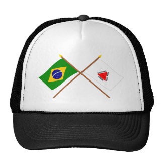 Crossed Flags of Brazil and Minas Gerais Hats