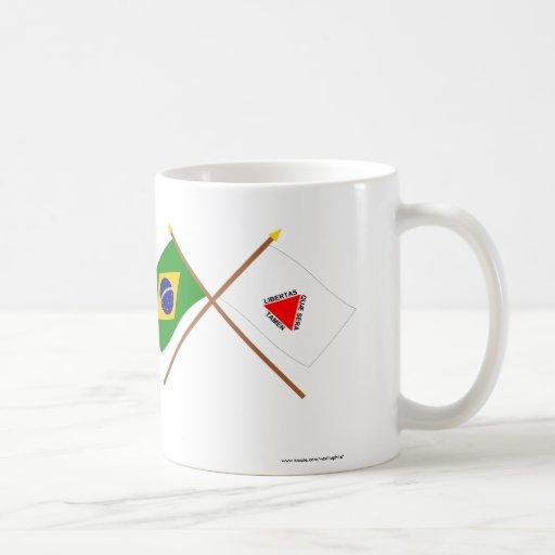 Crossed Flags of Brazil and Minas Gerais Classic White Coffee Mug