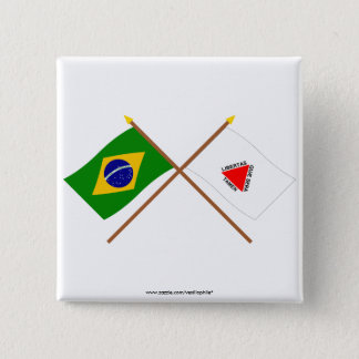 Crossed Flags of Brazil and Minas Gerais Pinback Button