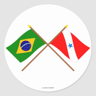 Crossed Flags of Brazil and Pará Classic Round Sticker
