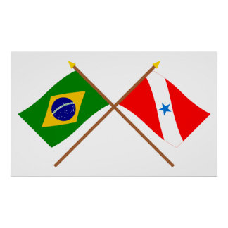 Crossed Flags of Brazil and Pará Poster