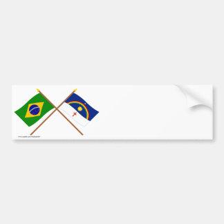 Crossed Flags of Brazil and Pernambuco Bumper Sticker