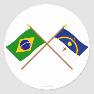 Crossed Flags of Brazil and Pernambuco Classic Round Sticker