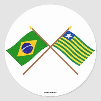 Crossed Flags of Brazil and Piauí Classic Round Sticker