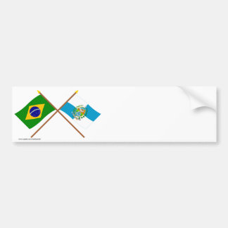 Crossed Flags of Brazil and Rio de Janeiro Car Bumper Sticker