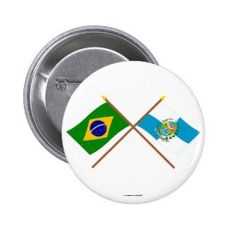 Crossed Flags of Brazil and Rio de Janeiro Button