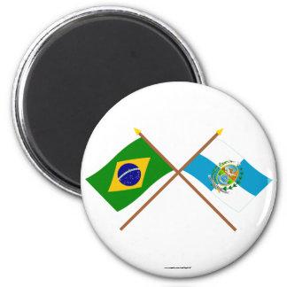 Crossed Flags of Brazil and Rio de Janeiro Magnet