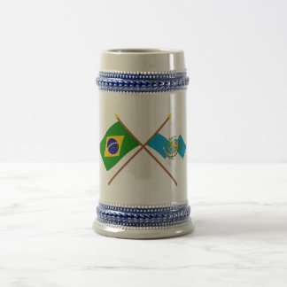 Crossed Flags of Brazil and Rio de Janeiro 18 Oz Beer Stein