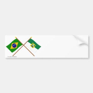 Crossed Flags of Brazil and Rio Grande do Norte Bumper Sticker