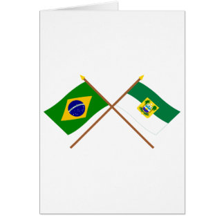 Crossed Flags of Brazil and Rio Grande do Norte Card