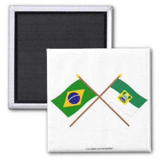 Crossed Flags of Brazil and Rio Grande do Norte Fridge Magnet