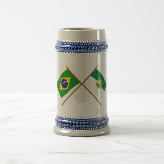 Crossed Flags of Brazil and Rio Grande do Norte 18 Oz Beer Stein