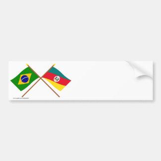 Crossed Flags of Brazil and Rio Grande do Sul Car Bumper Sticker