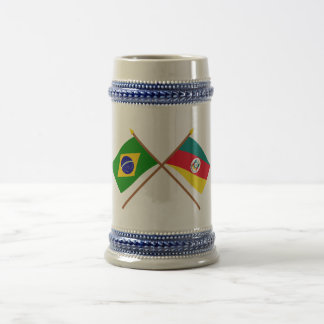 Crossed Flags of Brazil and Rio Grande do Sul 18 Oz Beer Stein