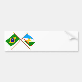 Crossed Flags of Brazil and Roraima Bumper Sticker