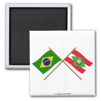 Crossed Flags of Brazil and Santa Catarina Magnet