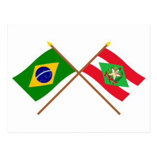 Crossed Flags of Brazil and Santa Catarina Postcard