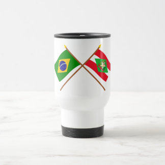Crossed Flags of Brazil and Santa Catarina Travel Mug