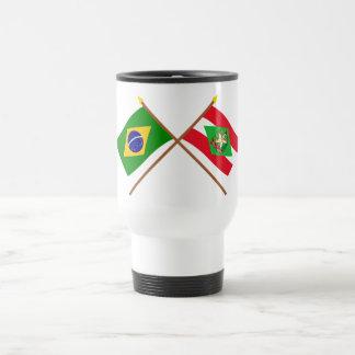 Crossed Flags of Brazil and Santa Catarina Travel Mug