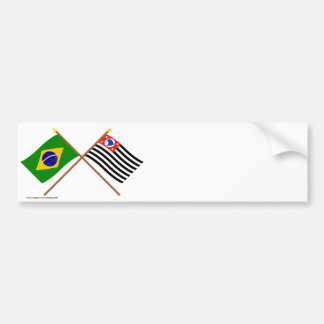 Crossed Flags of Brazil and São Paulo Car Bumper Sticker