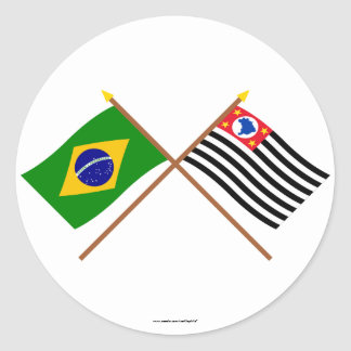 Crossed Flags of Brazil and São Paulo Classic Round Sticker