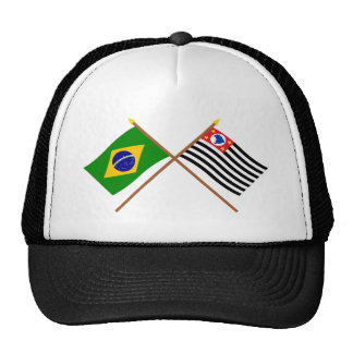 Crossed Flags of Brazil and São Paulo Trucker Hat