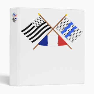 Crossed flags of Bretagne and Ille-et-Vilaine 3 Ring Binder