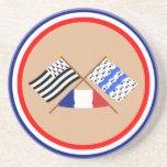 Crossed flags of Bretagne and Ille-et-Vilaine Beverage Coaster