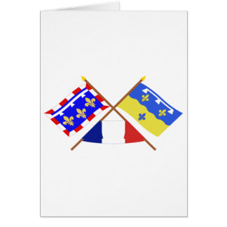 Crossed flags of Centre and Loir-et-Cher Greeting Cards