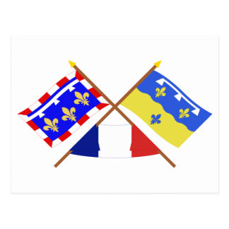 Crossed flags of Centre and Loir-et-Cher Postcard