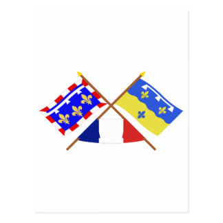 Crossed flags of Centre and Loir-et-Cher Post Card